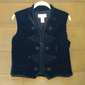 Bloomingdale's Black Vest w/Beaded Design